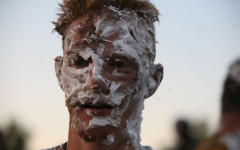 Ian Wiscombe covered in shaving cream