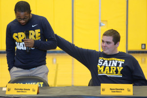 Carredyn Steele and Ryan Cheshire signed to play football at St. Mary's.