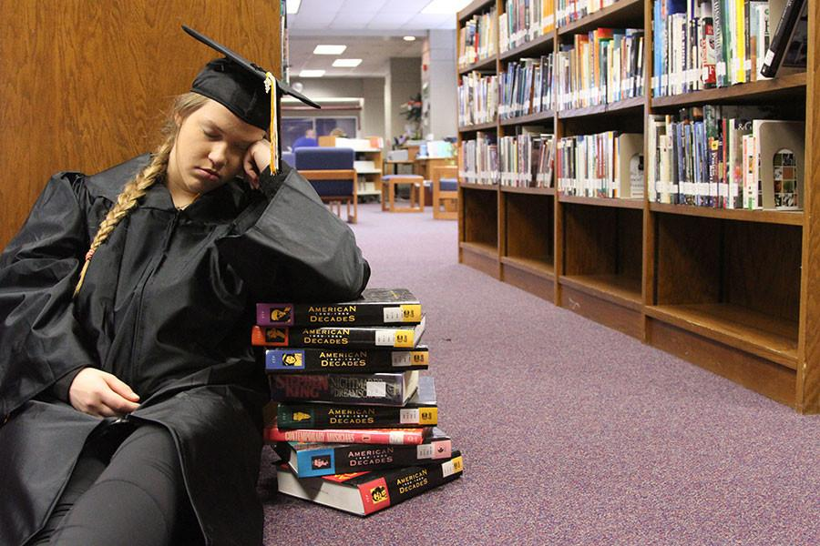Senior Alyssa Gregory struggles with the effects of senioritis. PHOTO BY HOPE ERICKSON