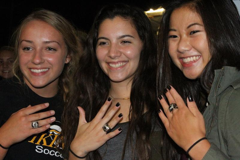 Left to Right: Melanie Bock, Laura Florez, and Karen Barkema show off their rings