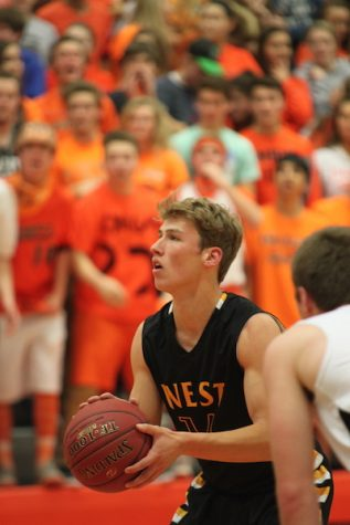 Zach Witters shooting a free throw in a game last year.