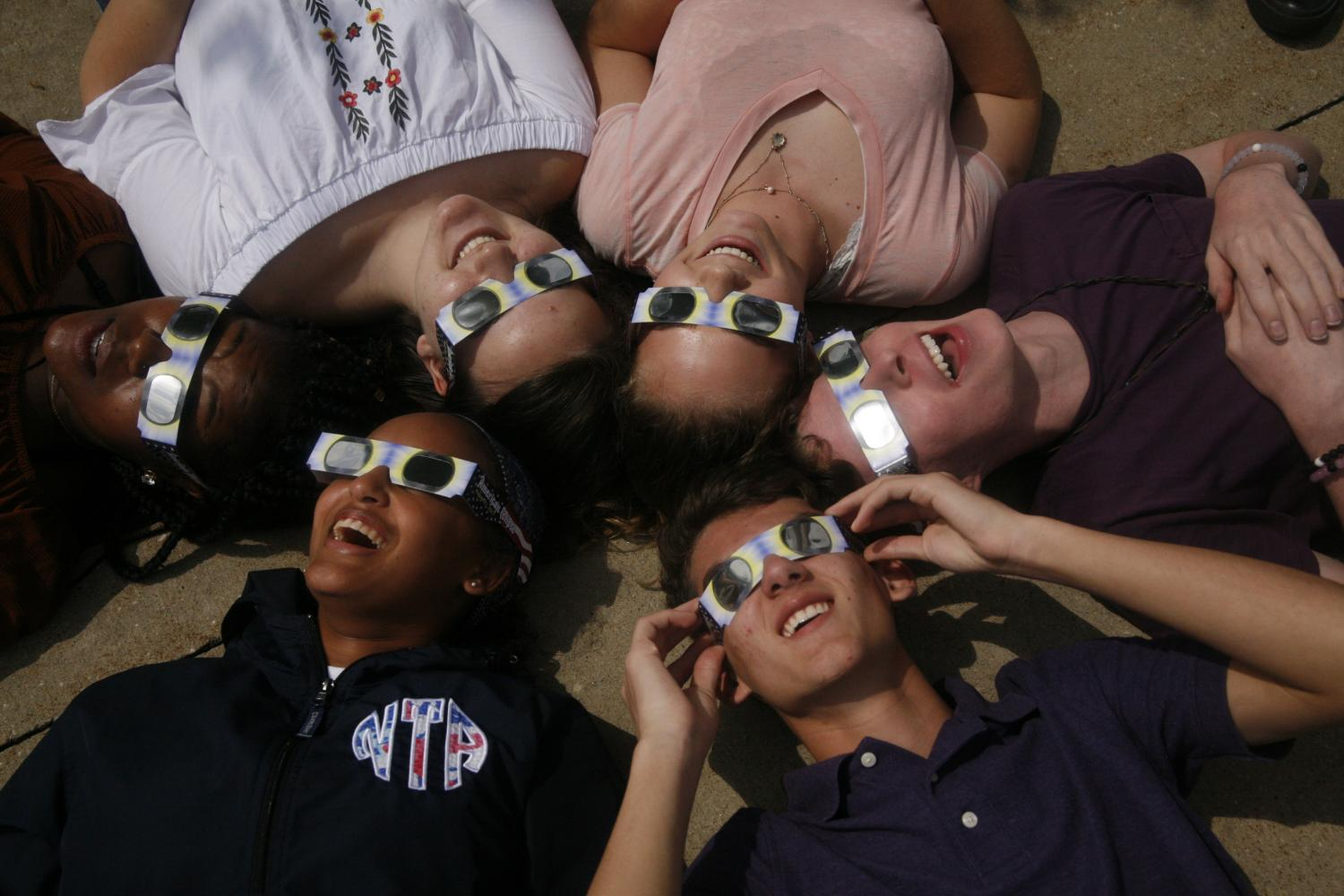Students enjoy their time during the solar eclipse.