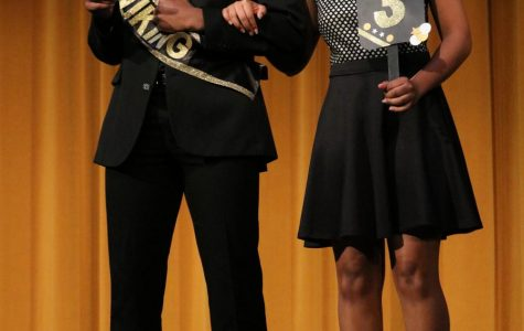 Senior Kirby Grigsby is introduced with his escort Jaleah Cullors