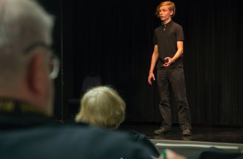 "Third-place winner, sophomore Alex Patterson performs in the ""Poetry Out Loud"" audition."