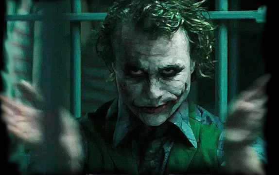 "Heath Ledger as The Joker in ""The Dark Knight"""