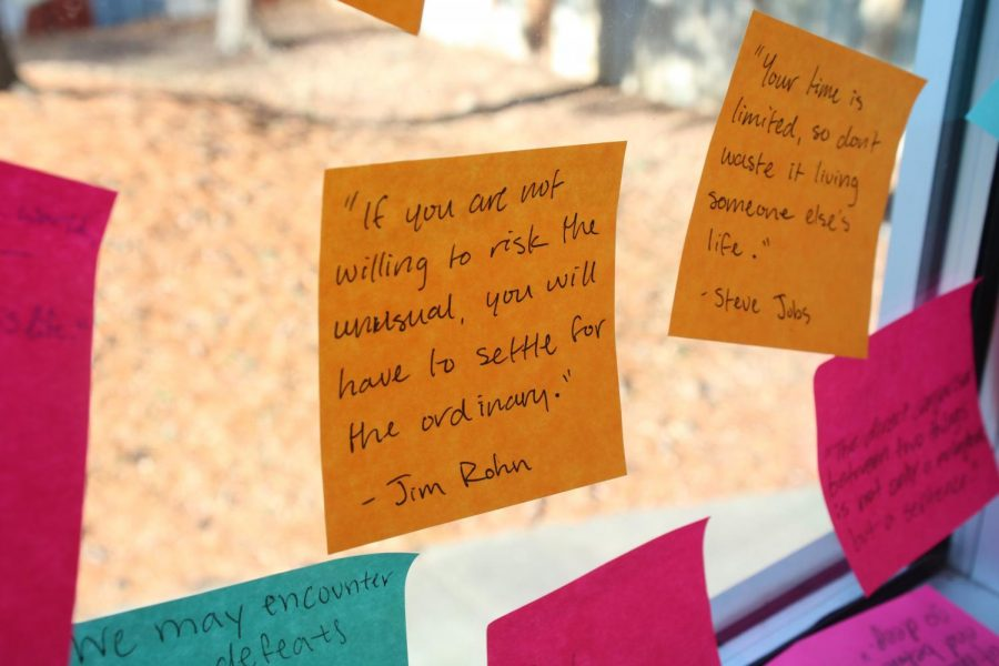 Students and teachers left inspirational notes for anyone to use during Heart of the West Week